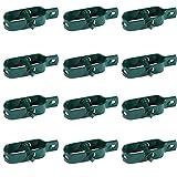 Kit 12x Tendifilo Plastificato Verde per Recinzione, Rete, Stendibiancheria, in Metallo da Giardino per Pali| Set da 12 pezzi (12 pz)