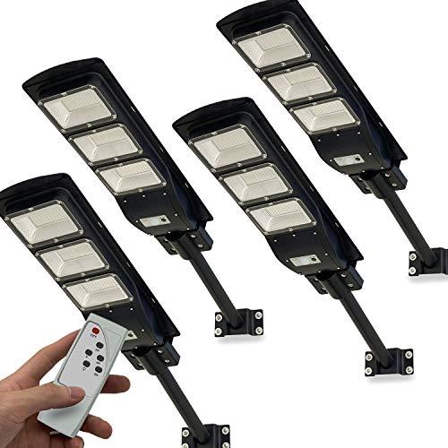 4 Pack Solar Street Light, 9000LM LED Solar Power Street Light with Motion Sensor and Light Control Super Bright
