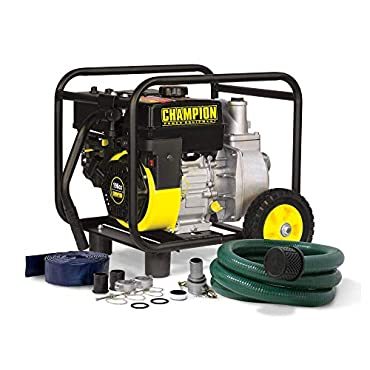 Champion 66520 2 Gas-Powered Semi-Trash Water Transfer Pump with Hose and Wheel Kit