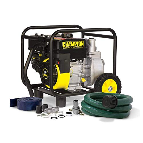 CHAMPION POWER EQUIPMENT 66520 2-Inch Gas-Powered Semi-Trash Water Transfer Pump with Hose and Wheel Kit