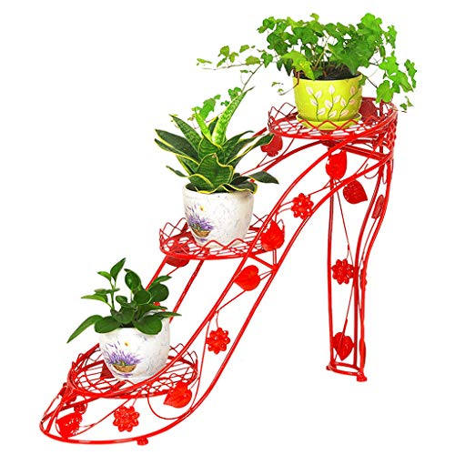 G-HJLXYZWJHOME Bloemenstandaard, 3-laagse metalen bloempot, smeedijzer, hoge afzaaging, woonkamerbalkon, creatief bloemenrek, eenvoudig te monteren, rood