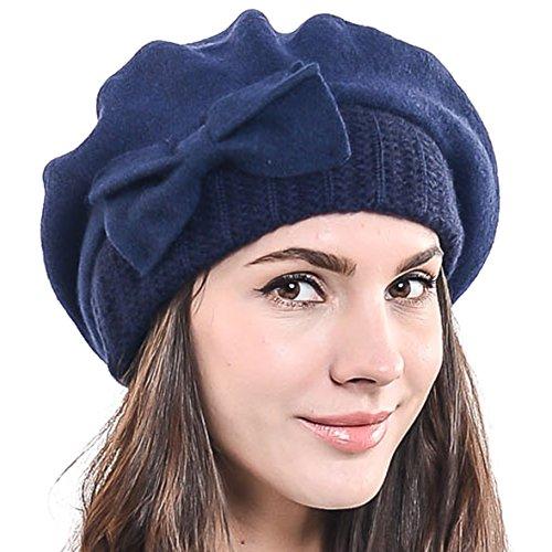 Boina francesa para mujer, 100% lana, boina chic, gorro de invierno HY022
