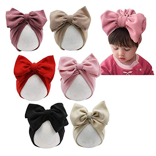 JIAHANG Baby Girl Velvet Big Hair Bow Turban Hat Oversized Bowknot Head Wrap Beanie India Cap Warm for Infant Toddlers 6PCS (bowknothat New)