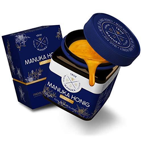 True Manuka - Manuka Honig - Zertifizierter MGO Gehalt 400+ [250g] - [VERBESSERTES KONZEPT 2021] - 100% Pur aus Neuseeland - Laborgeprüfter Honig mit exzellenter Reinheitsstufe