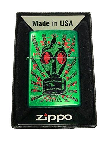 Zippo Custom Lighter - Gas Mask Red Eyes Doom - Meadow Green