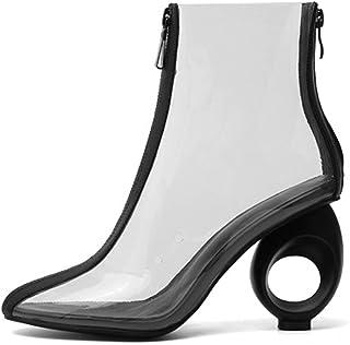 Claro para Mujer Vestido De Botas, Botines Transparentes Talones Tobillo De Arranque,Transparente,40