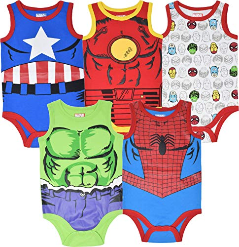 Marvel Avengers Baby Boys 5 Pack Sleeveless Bodysuits 6-9 Months