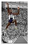 Carl Lewis Signiert Autogramme 21cm x 29.7cm Plakat Foto