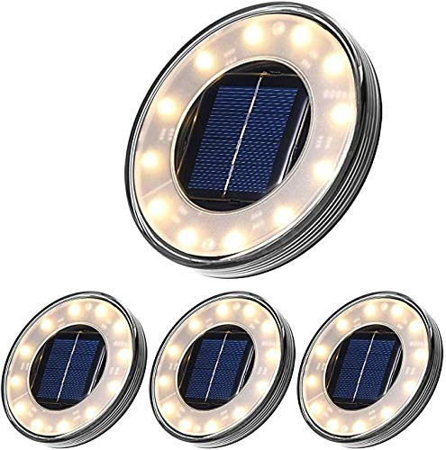 Tomshin-e Solar Ground Lights, Disk Lights Outdoor Warm White, Waterproof 12 LED Beads Solar In-ground Lights, Outdoor Walkway Lights Decorative for Patio Pathway Lawn Yard Driveway(4 Pack)