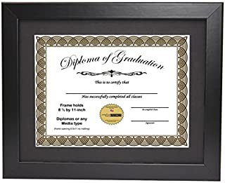 CreativePF [11x14bk] Black Diploma Frame with 11x14-inch White Mat to Hold 8.5 by 11-inch Graduation Documents Including Wall Hanger