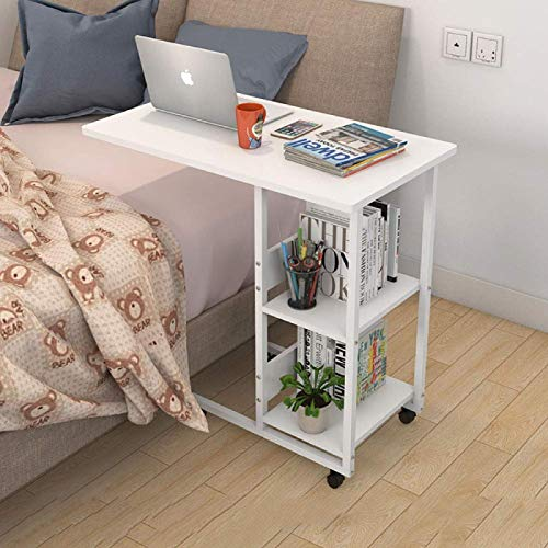ZFM Modern Simple Computer Table Height-Adjustable Conference Table with Bookshelf with Rolling casters PC Table Multifunctional Table for Home office-31x15x30inch E
