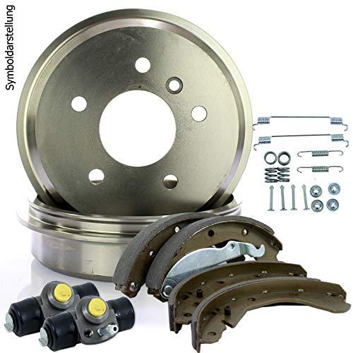 2 Bremstrommeln + Bremsbacken + Zylinder + Zubehör hinten