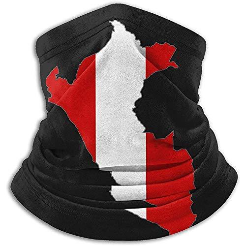 Kenice Polaina para Cuello,Calentador De Cuello De Invierno,Bufanda De Tubo,Mapa De La Bandera De Perú Headwrap, Diadema, Cuello Polaina, Gorro Suave, Pasamontañas