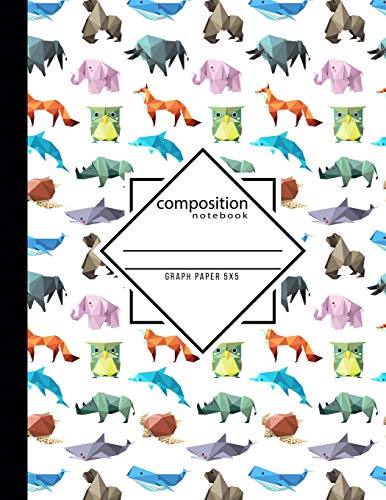 Composition Notebook Graph Paper 5x5: Origami School Teacher, Students and Office Administrators Writing Book for Math, Science & Design Class