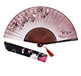 Amajiji Folding Fan, 8.27'(21cm) Women Hand Held Silk Folding Fans with Bamboo...