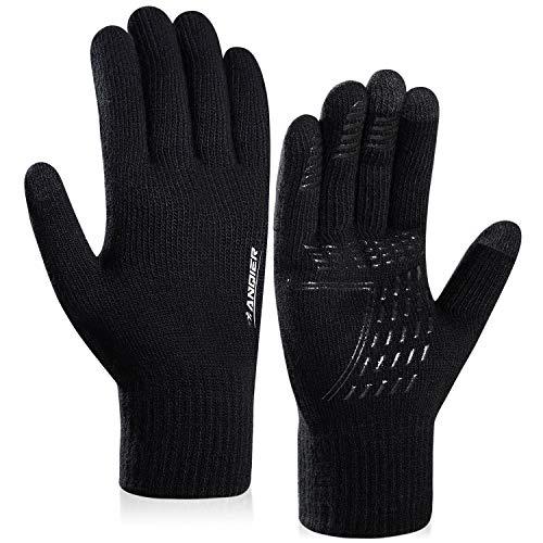 coskefy Winter Warm Gestrickte Touchscreen Handschuhe für Frauen Männer Gloves Wolle Ostern Weihnachten Sport Fahrrad Reiten Camping Wandern Laufen Arbeit Bequem (Herren, Schwarz)