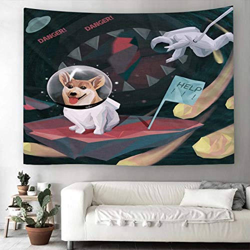 N/A Impresión 3D tapices Tapiz Espacial Astronauta Colgante de Pared Gatos Perros Tapiz de Pared para Sala de Estar alfombras de Pared para Dormitorio decoración del hogar Tapiz