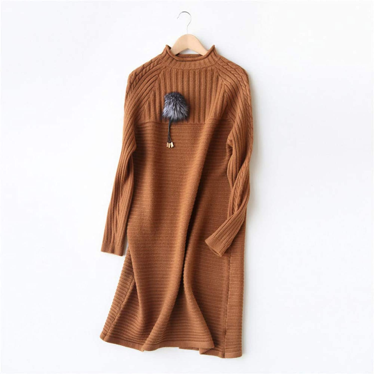 Cxlyq Dresses Winter Dress Sweater Women Turtleneck Collar Knit ALine Long Dresses Long Sleeves Dresses