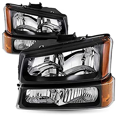 Driver and Passenger Side Headlight Assembly Compatible with 2003-2006 Chevy Avalanche/ 2003-2007 Chevrolet Silverado 1500 2500 3500 Chrome Black Housing Set of Running Lights (Black & Amber)