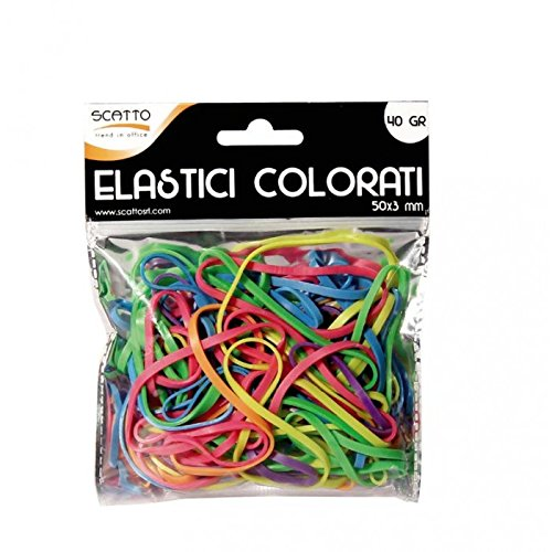 Scatto 8027217540879 Elastici Colorati Busta, 50 x 3mm, 40g
