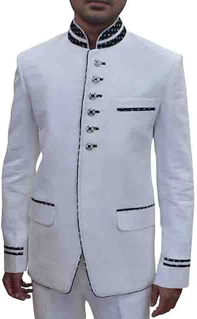 INMONARCH Mens White 2 Pc Linen Tuxedo Suit 6 Button TX4128
