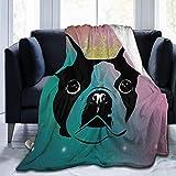 Manta Ultra Suave de Micropolar Color Crown Boston Terrier Manta de Tiro para Perros Manta cálida Manta de Cama Ligera de Microfibra para sofá Cama - Manta de Cama Premium para Todas Las EST