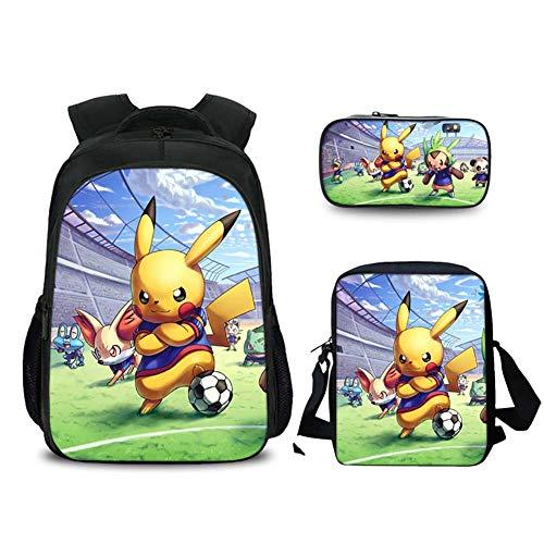 GNZY Mochilas Escolares Pokémon Detective Pikachu Escolares Mochilas con Bolsa de Almuerzo Bolso Lápiz para Adolescentes Niños Niñas Infantiles 6-16 Años,D