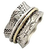 Energy Stone Sun Worship Sterling Silver Meditation Spinner Ring with Brass and Silver