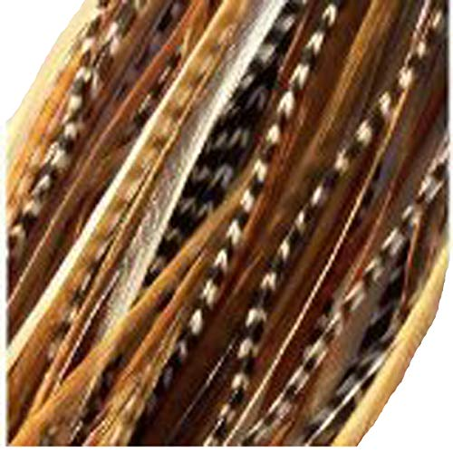 Feather Hair Extensions 6 Feathers 4-7 Natural Mix Ginger with Beige and Grizzly for Feathers for Hair Extension by SEXY SPARKLES