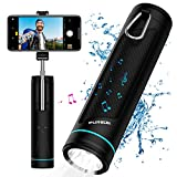 All-in-one Water Resistant Bluetooth 5.0 Wireless Speaker with 6 Changing Light Colors | 20 Inch Selfie Stick | 5200mAh Power Bank | LED Flashlight | Camping Lantern | SD Card/USB Flash Drive Player