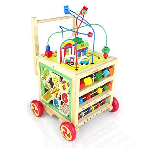 Lauflernwagen Lauflernhilfe Holz Laufwagen für Babys ab 1 2 3 Jahre,7 in 1 Baby Walker mit Gummierten Holzrädern Babyspielzeug