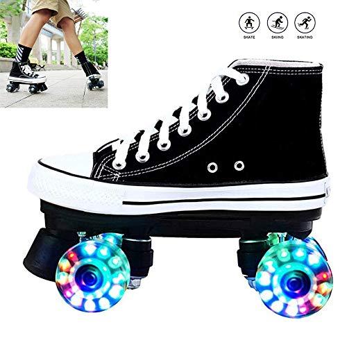 WING Discoroller Erwachsene, LED Rollschuhe für Damen und Herren, Outdoor Quad-Skates Rollerskates für Mädchen und Jungen,Schwarz,40