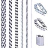 Seilwerk STANKE supporti per piante rampicanti, ringhiera, fune in acciaio zincato 50m 1x19 2mm, 4x manicotti, 2x anelli zincati