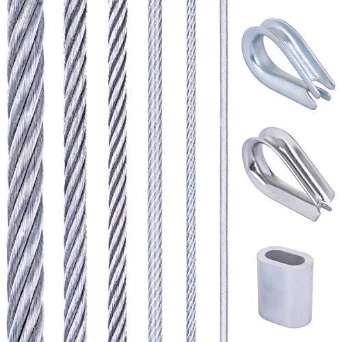 Seilwerk STANKE Soportes para plantas trepadoras, barandilla, Cuerda de acero galvanizado 1m 1x7 1mm, 4x casquillo, 2x guardacabo galvanizado
