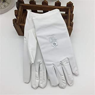 SHENTIANWEI Women's UV Protection Gloves Short Outdoor Driving Embroidered High Elastic Etiquette Gloves (Color : White, Size : One size-Two pairs)