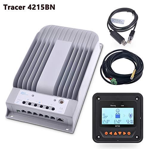 EPEVER 40 A MPPT Solar-Laderegler, 150 V PV Solarpanel-Regler, negative Erdung, MT50 Fernzähler, Temperatursensor, PC-Überwachungskabel, Tracer4215BN+MT50+RTS+150U