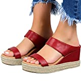 Hosamtel Wedges Shoes for Women Sandals,2020 Summer Open Toe Breathable Beach Sandals Slip-On Straw Casual Wedges Shoes Red