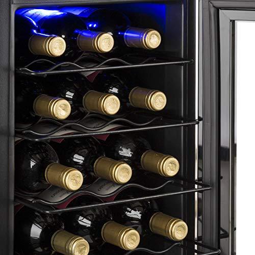 Klarstein Reserva 21 - Cave à vin, 2 zones, 56 L, 21 bouteilles, Ecran LCD, Eclairage intérieur en LED, noir
