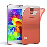 EAZY CASE Hülle kompatibel mit Samsung Galaxy S5 / S5 LTE+ / S5 Duos / S5 Neo Schutzhülle Silikon, Ultra dünn, Slimcover, Handyhülle, Silikonhülle, Backcover, Durchsichtig, Klar Orange