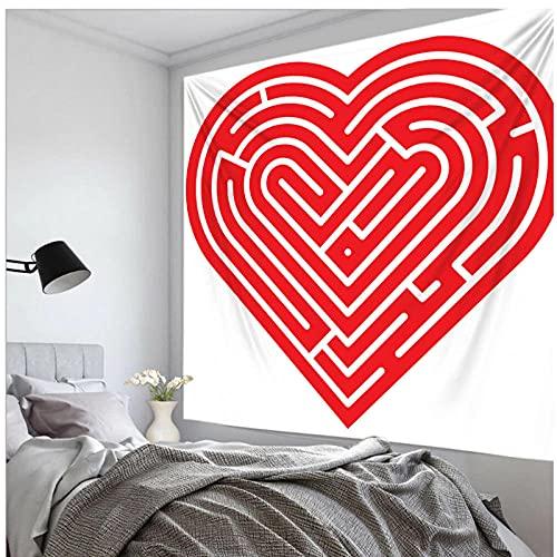 Tapiz by BD-Boombdl Tapiz hippie de pared con patrón de amor rojo alfombra de poliéster para decoración del hogar alfombras colgantes manta de sofá grande 59.05'x51.18'Inch(150x130 Cm)