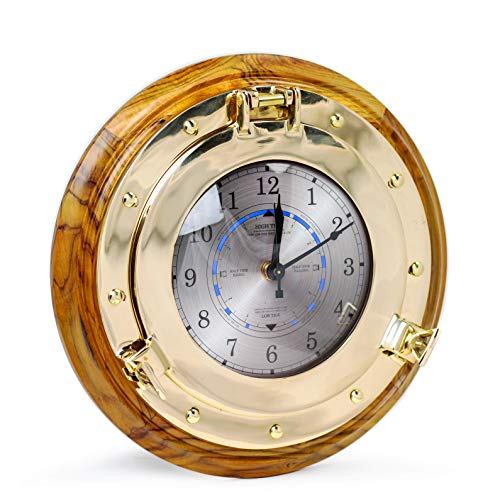 Nagina International Mahogany Maritime Authentic Wood Brass Porthole Fitted Nautical Tide Clock & Time Clock with Takane Tide Motor | Weather Clock Station (12 Inches)