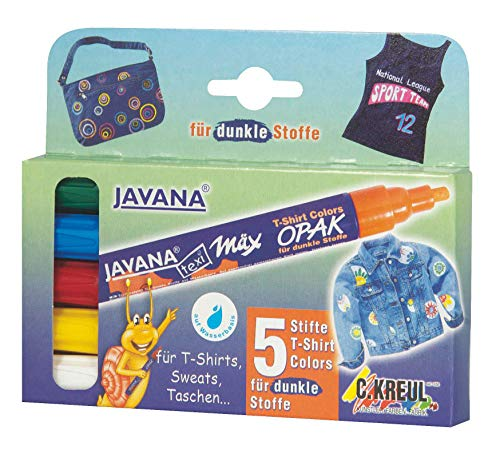 Kreul 92750 - Javana Texi Mäx Opak Stoffmalstifte für helle und dunkle Stoffe, waschecht nach Fixierung, mit Rundspitze ca. 2 - 4 mm, 5 Stifte in weiß, gelb, rot, blau und grün