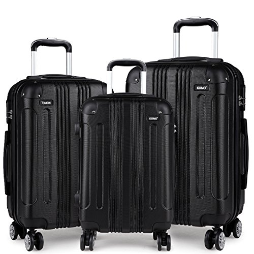 Kono Hard Shell Luggage Sets Lightweight ABS 4 Wheels Spinner Business Trip Trolley Case Suitcase (3-Piece Set(20'/24'/28'))