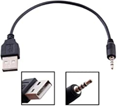 2.5mm Male AUX Audio Jack To USB 2.0 Male Charge Cable Adapter Cord / Data