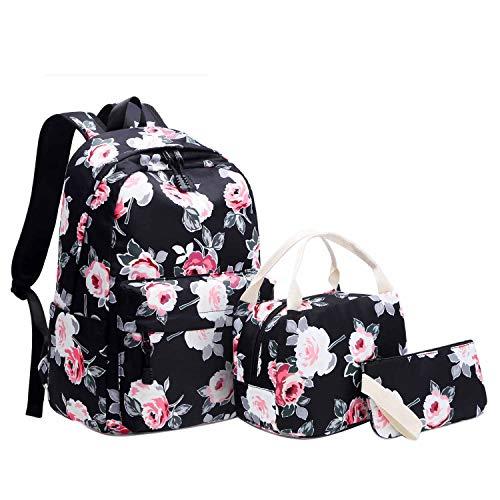 Neuleben 3 Teile Schulrucksack & Kühltasche & Geldbörse für Damen Mädchen Kinder Wasserabweisend Rucksack Schultasche mit Blumenmuster (Schwarz)