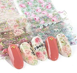 10pcs Pink Flower Transfer Foil For Nails Design Summer Sticker Adhesive Nail Foil Wraps Tattoo Nail Art Decoration Slider
