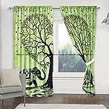 Cortinas con diseño de árbol de la Vida, Mandala Bohemio, Color Verde, para Cocina, Vent...