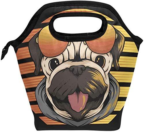 Bolsa de almuerzo creativo divertido perro Pug con gafas de sol lonchera aislada bolso portátil térmico contenedor de comida enfriador reutilizable