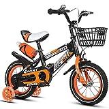 MYERZI Absorción de Impacto Las bicicletas de los niños de 18 pulgadas marco de bicicleta de acero de carbono de alta Hombres Y Mujeres Cochecito de 6-9 años de edad de los niños, Naranja / / biciclet