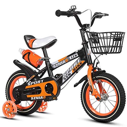 Chenbz Bicicletas de los niños del Marco de 16 Pulgadas Macho y la Bicicleta Mujer Cochecito de 4-7 años del niño Acero de Alto Carbono, Naranja/Azul/Rojo de la Bicicleta de los niños (Color: Nara